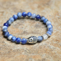 6mm Sodalite Beads with Crackle Rock Crystal Stones and Buddha Bead - Custom Fit Bracelet