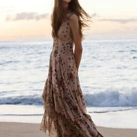 V-neck Ruffle Print Sleeveless Vest Bohemia Vacation Chiffon Dress One Piece Dress [6158981956]