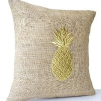 """Amore Beaute Natural Burlap Pillowcase with Pineapple Embroidered in Gold Thread - Handmade Fruit Pillow Cover - Modern Decor Chair Pillowcover - Decorative Pillow Cover (20""""x20"""")"""