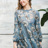 Blue Short Floral Chiffon Dress