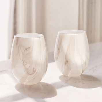 Marble Stemless Wine Glass Set | Urban Outfitters