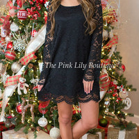 Only In Your Dreams Black Lace Dress