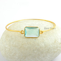Aqua Quartz 13x18mm Faceted Gemstone Bracelet Micron Gold Plated 925 Sterling Silver adjustable Bangle Jewelry #1405
