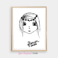Flower Child Print Gift Printable Monochrome Home Decor Wall Print Girls Room Nursery Art Digital Download Photo Boho Print