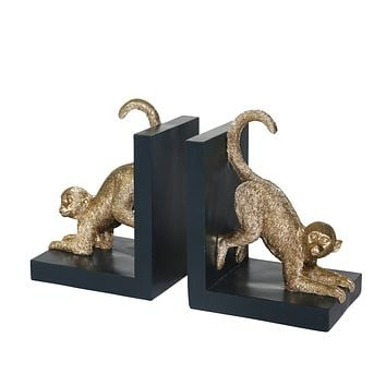 """S/2, Resin 8""""H  Monkey Bookends, Gold"""