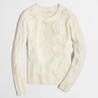 FACTORY EMBELLISHED CABLE-KNIT SWEATER