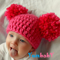 Newborn Baby Hat Girl Hats Chunky Pink White Blue Black Brown Crochet Knit Infant Double Pom Pom Beanie Photography Prop