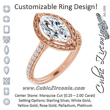 Cubic Zirconia Engagement Ring- The Montserrat  (Customizable Marquise Cut Halo Design with Filigree and Accented Band)