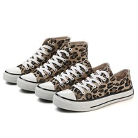 High Low Top Sneakers Women Spring Students Casual Shoes 2019 New Breathable Leopard Flats Lace-up Comfort Walking Shoes EU35-40