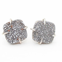 Titianium Druzy Square Claw Prong Stud Earrings-Sterling Silver