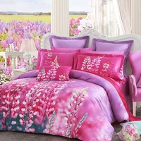 LOVO Love Song 100% Cotton 4pcs Bedding Set 1x Duvet Cover, 1x Flat Sheet and 2x Pillowcases Mutli-color Queen