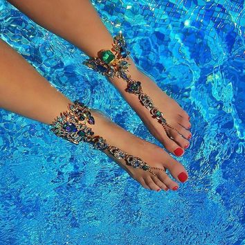 Ladyfirst Ankle Bracelet For Beach Vacation Sandals Sexy Leg Chain Female Crystal Anklet Foot Jewelry Pie Leg Crystal Anklet3194