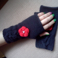 Black Fingerless Gloves with red flower, Hand Knitted Fingerless gloves.Black Wrist Warmers, mittens,birthday gift,Valentines Day Gifts