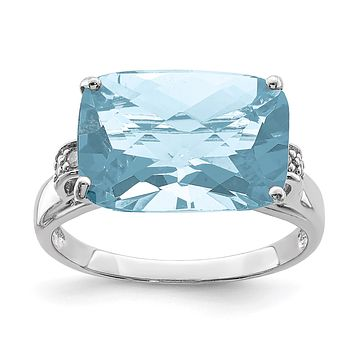 Sterling Silver Rhodium Checker-Cut Sky Blue Topaz & Natural Diamond Gemstone Birthstone Ring Fine Jewelry Gift for Her