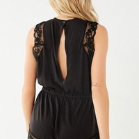 Out From Under Nadia Lace Trim Cheeky Romper   Urban Outfitters Canada