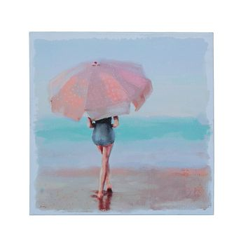 Watercolor Lady on Beach with Umbrella Canvas Wall Décor