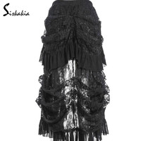 Siskakia 2017 Multilayer Lace long Skirt Victorian Costumes Gothic Steampunk Clothing Sexy Skirts For Women Matching Corset 4XL