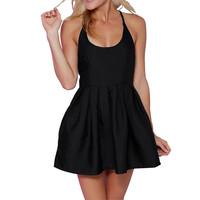 DS262 Women's Sexy Halter Cross Back Sleeveless Summer Pleated Little Black Party Club Mini Skater Dress Plus Size S-XL 2016 New