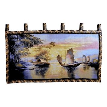 Tache 28 x 55 Exotic Ships on The Horizon Coastal Tapestry Wall Hanging (WH-DB15152)