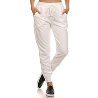 Quilted Joggers - White