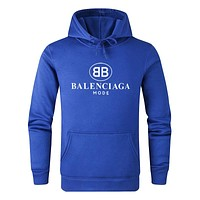 Balenciaga Autumn And Winter New Fashion Letter Print Women Men Hooded Long Sleeve Sweater Top Blue