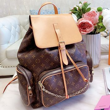 LV Fashion New Monogram Print Leather Book Bag Backpack Bag