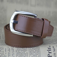 Brown Faux Leather Pin Buckle Belt