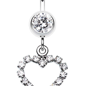Heart Glittering Ball Belly Button Ring