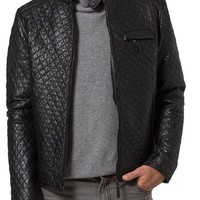 Men quilted leather jacket, men quilted motorcycle jacket, Mens leather jacket