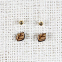 Leaf and Stud Earrings