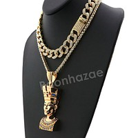 Hip Hop Quavo Queen Nefertiti Miami Cuban Choker Chain Necklace L38
