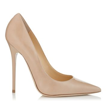 Nude Patent Pointy Toe Stiletto Pump Shoes | Anouk | JIMMY CHOO Shoes