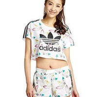 """Adidas"" Women Fashion Casual Floral Pattern Short Sleeve T-shirt"