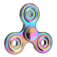 Class Design Rainbow Colorful Znic Alloy EDC Tri Hand Spinner Finger Decompression Anxiety Fidget Spinner Toy With Retail Box 132pcs/lot