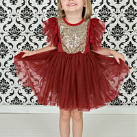 Sparkle Ballet Dress Wine & Gold Sequins