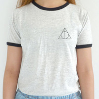 Deathly Hallows Shirt Harry Potter Ringer Pocket Tee Grunge Clothing S - 3XL