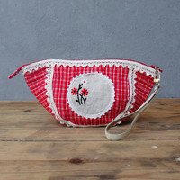 Red Plaid Pouch - Leather,  Vintage Embroidery Doily and Fabric - Lost Memories