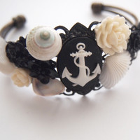 glamasaurus ♥Kawaii Cute Sweet Jewelry + Accessories ♥ — Black Anchor Cameo Cluster Bracelet-Rockabilly Nautical