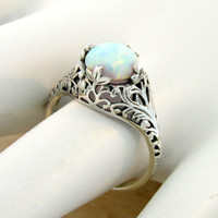 Opal Solitaire Sterling Silver Filigree Engagment Ring Rhodium Sz 6/ Floral Leaf & Vine/ Antique Vintage Victorian Art Nouveau Deco