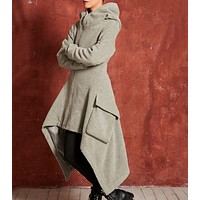 Autumn and winter new women's explosions irregular fashion sweater trench coat