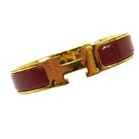 Authentic HERMES Vintage H Logos Clic Clac Bangle Gold Red Accessories AK16903