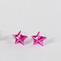 6 mm Hot Pink Tiny Nautical Star Post Stud Earrings 925 Sterling Silver Cartilage/Lip/ Nose/ Earrings Beach Design Gift under 10