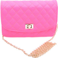 Neon Pink Quilted Bag