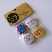 """Leslie Knope button set, Parks & Recreation, 4 x 1"""" Pinback Buttons, television, buttons, lapel, badge, pin, gift"""