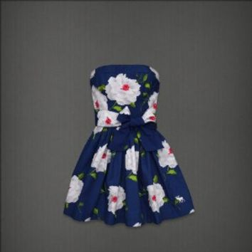 New Abercrombie & Fitch Blue Floral Strapless Payton Dress Large A&F Size L