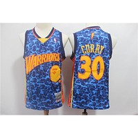 Bape x NBA Golden State Warriors 30 Stephen Curry Mitchell & Ness Hardwood Classics Jerseys