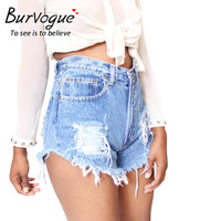 Burvogue Women 2016 New Jeans Shorts Pants Tassel and Hollow out Jeans Pants Summer Hot Shorts Ripped High Waist Jeans Pants