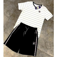 """""""FILA"""" Casual Print Short Sleeve Shirt Top Tee Blouse Two Peice  G-A-XYCL"""