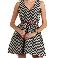 Belted Chevron Skater Dress by Charlotte Russe