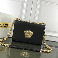 Versace Women Leather Inclined Chain Shoulder Bag
